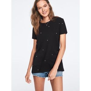 VS Pink Black Tee with Stars